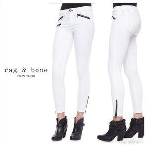 Rag & Bone White Skinny Jeans Black Contrast Zip